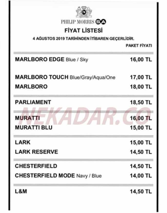 Marlboro - Parliament Grubu Zamlı Sigara Fiyat Listesi
